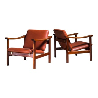 Hans Wegner Pair of Lounge Chairs for GETAMA, Denmark, 1950s For Sale