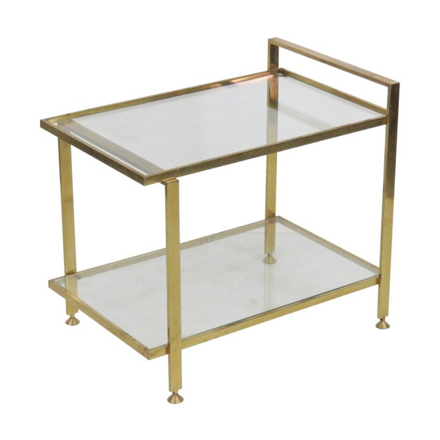 Mid-Century Modern Brass & Glass Side Table - Image 1 of 3