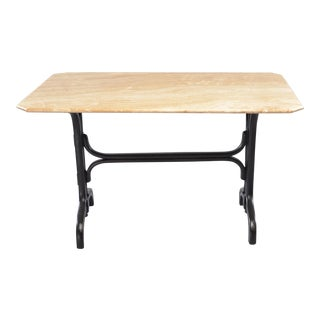 Marble Top Pub Table With Ebonized Bentwood Base For Sale