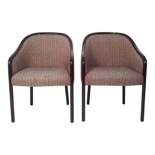 Pr of Mid Century Modern Ward Bennett Armchairs Newly Lacquered in Chocolate Brown