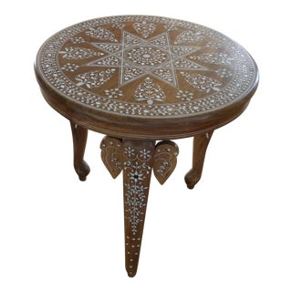 Vintage Bone Inlaid Indian Elephant Table For Sale