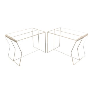 1970s Modern Charles Hollis Jones Lucite Side Tables - a Pairr