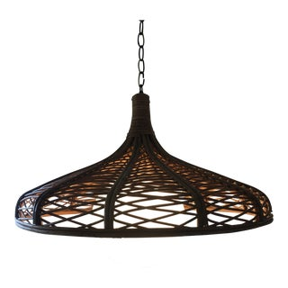 Mid-Century Rattan Pagoda Style Chandelier For Sale