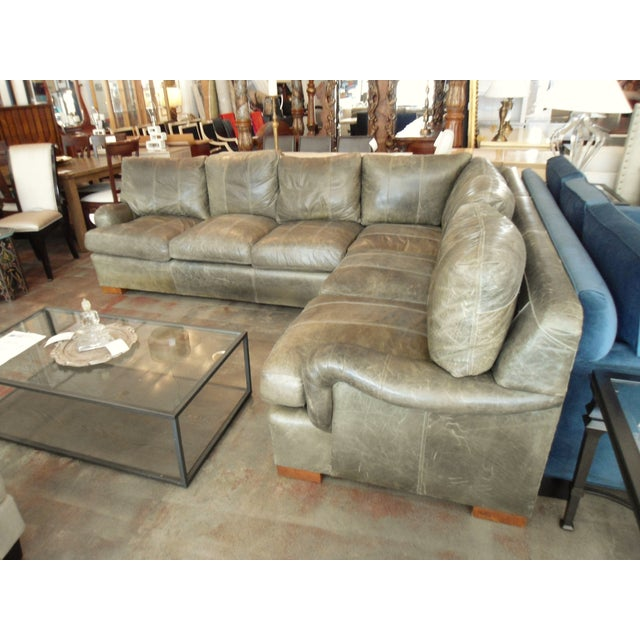 Kravet Olive Green Leather Sectional Sofa - Image 4 of 5