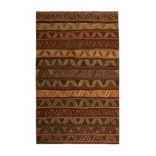 Vintage Mid-Century Kars Geometric Brown and Green Wool Kilim Rug- 4′11″ × 8′1″ For Sale