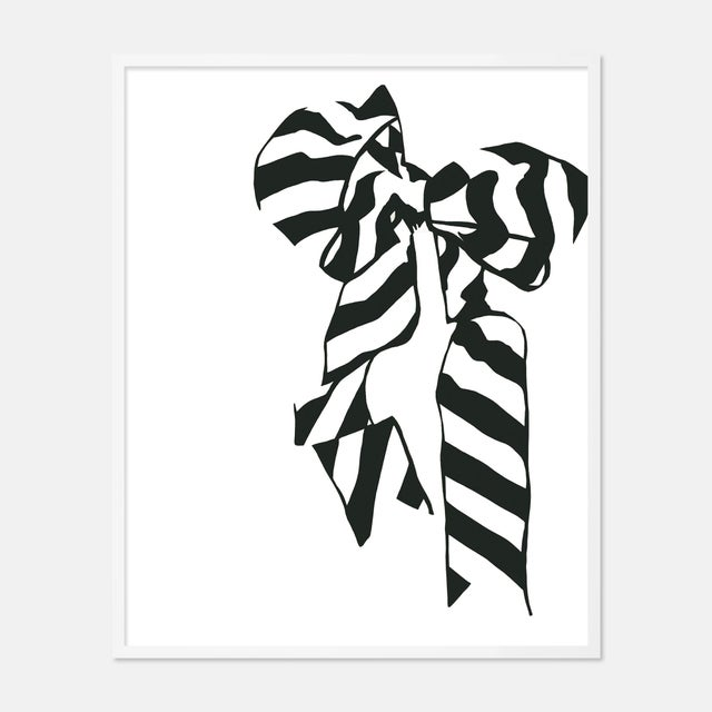 Contemporary White Bow by Angela Blehm in White Framed Paper, Large Art Print For Sale - Image 3 of 3