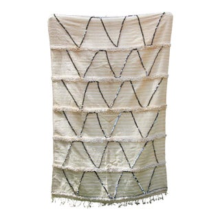 Large Vintage Tribal Moroccan Handcrafted Wedding Blanket Throw with Sequins 11 For Sale