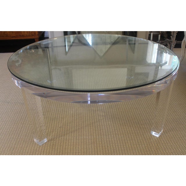 Transparent H- Studio Round Glass/Lucite Coffee Table For Sale - Image 8 of 8