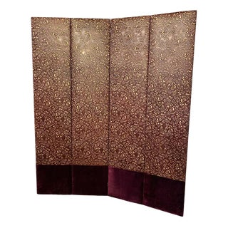Hollywood Regency Four-Panel Leather and Velour Room Divider or Screen For Sale