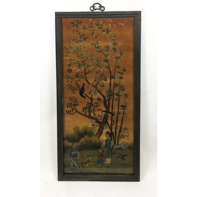 Vintage Chinese Scroll Painting Panel in Original Frame For Sale - Image 4 of 4