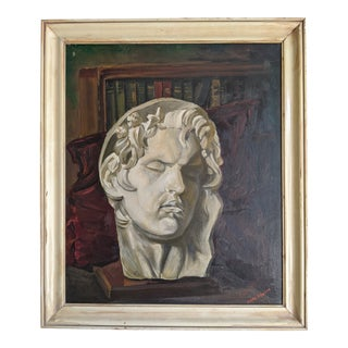 Modernist Oil on Canvas Painting of Classical Greek Sculpture Bust For Sale