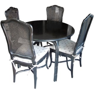 Vintage Hollywood Regency Black Round Dining or Game Table & Chairs - Set of 5 For Sale