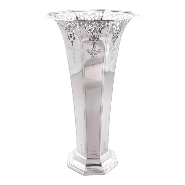 Sterling Reticulated Vase For Sale
