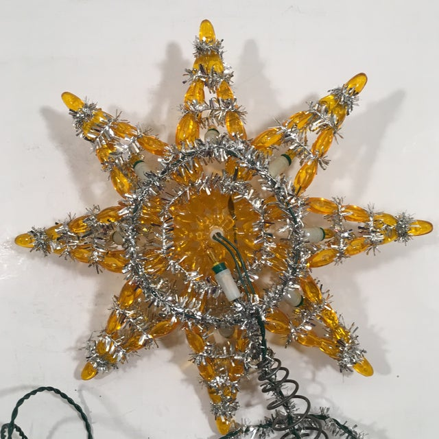 Vintage Silver & Yellow Light-Up Star Tree Topper - Image 4 of 7