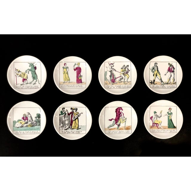 Piero Fornasetti Coasters With Original Box and Impressed Liners - Set of 8 For Sale - Image 11 of 11