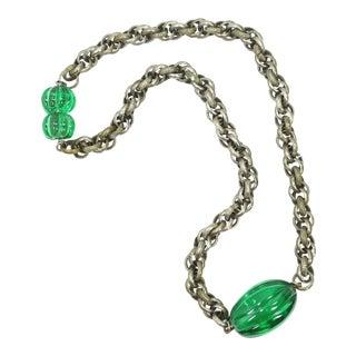 Art Deco Emerald Pate De Verre Glass & Interlocking Chain Necklace, France 1920s For Sale