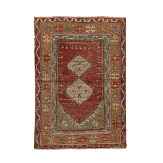 Islamic Vintage Red Turkish Area Rug 3'x5' For Sale - Image 3 of 5