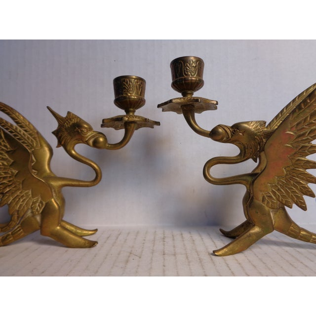 Traditional Brass Dragon Candlesticks - Pair For Sale - Image 3 of 6