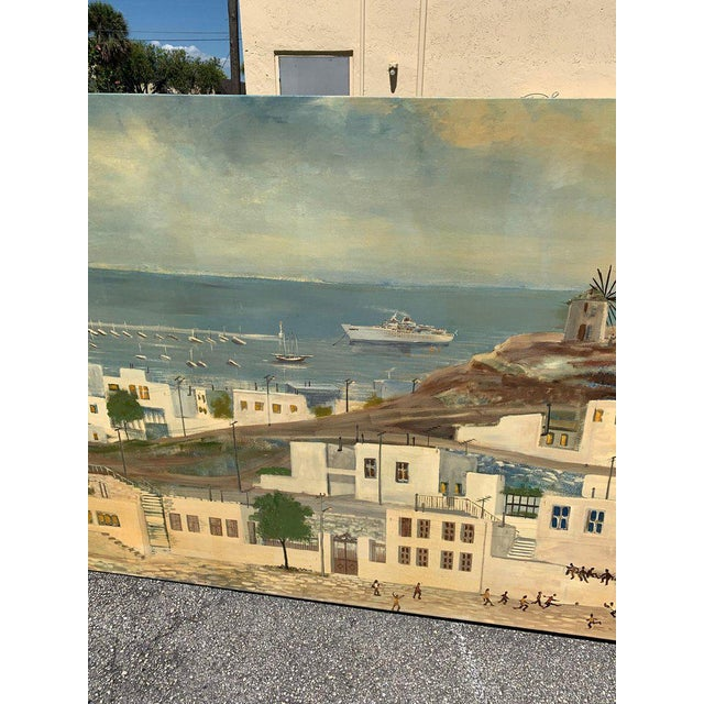 Monumental Oil Painting Mykonos Island Greece Signed by G.Tsitsilianos 1986 For Sale - Image 11 of 13