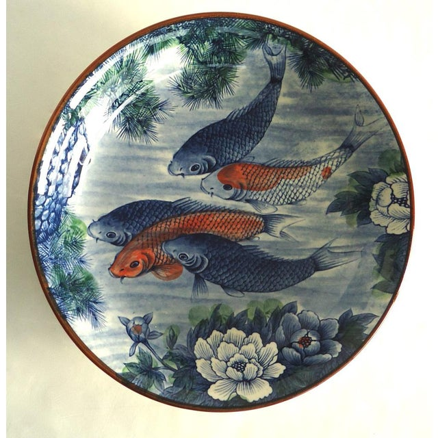 Japanese Serving Bowl with Koi Fish - Image 2 of 7