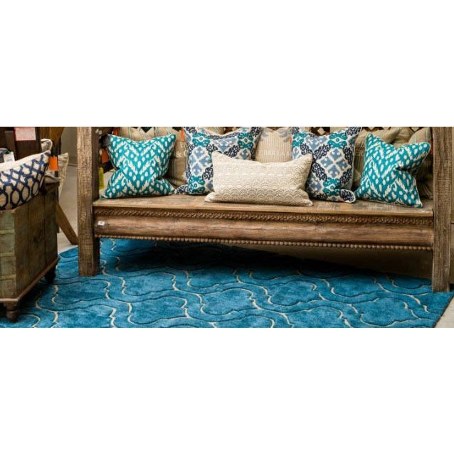 Hand Tufted Trellis Blue Rug - 8' X 10' - Image 3 of 6
