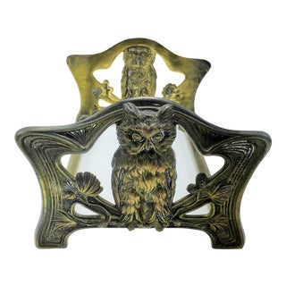 Art Nouveau Brass Owl Expandable Book Slide