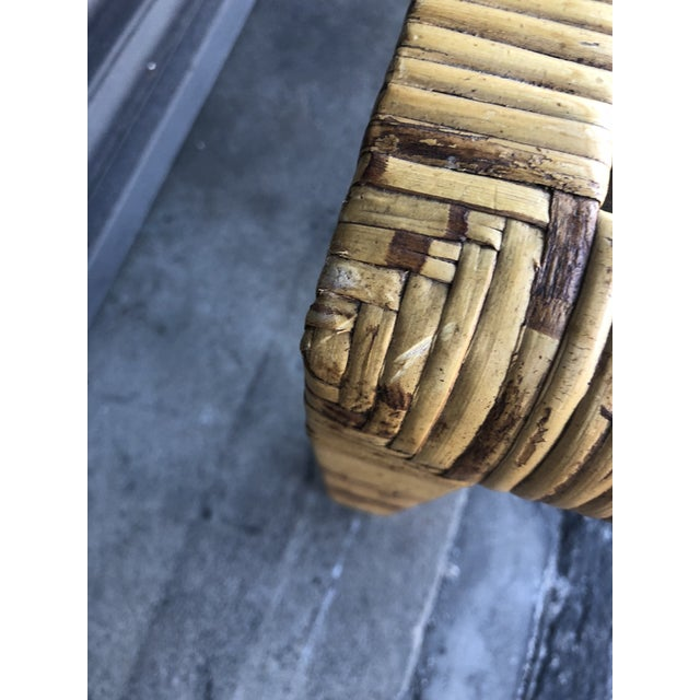 Caning Vintage Wrapped Rattan Square Side Table For Sale - Image 7 of 11