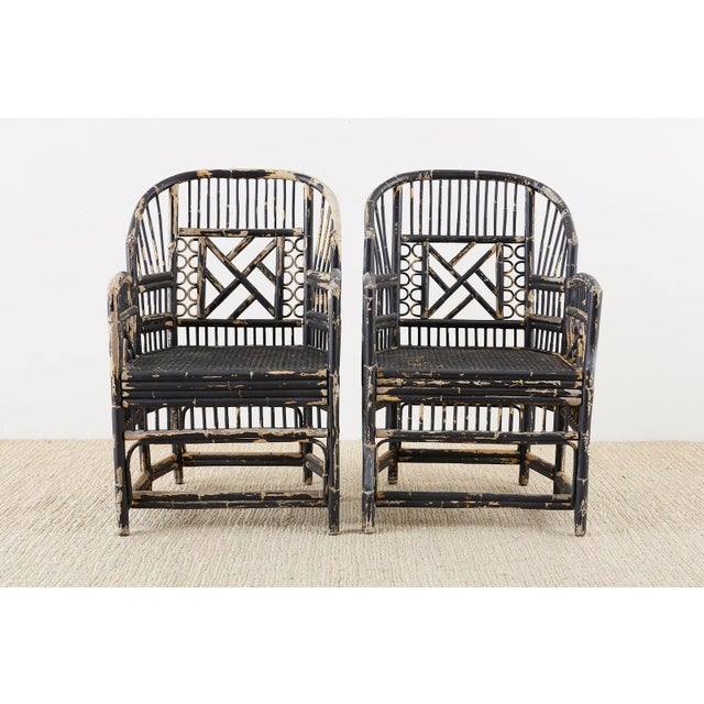 Asian Brighton Bamboo Rattan Chinese Chippendale Lacquered Chairs For Sale - Image 3 of 13