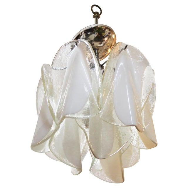 Transparent Italian Modern Murano Glass Handkerchief Pendant For Sale - Image 8 of 8