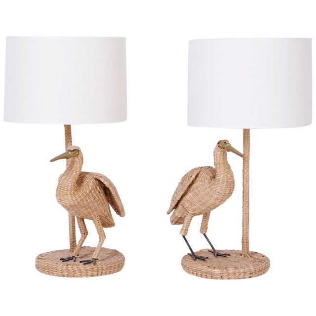 Mario Lopez Torres Wicker Egret Table Lamps - a Pair For Sale - Image 10 of 10