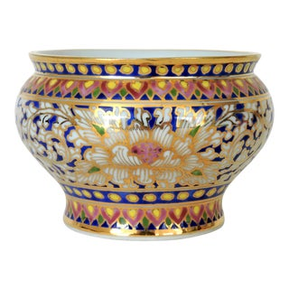 Small Hand Painted 'Royal Thai' Gold Leaf Bowl For Sale