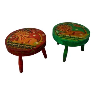 Peter Hunt Folk Art Painted Stools - a Pair For Sale