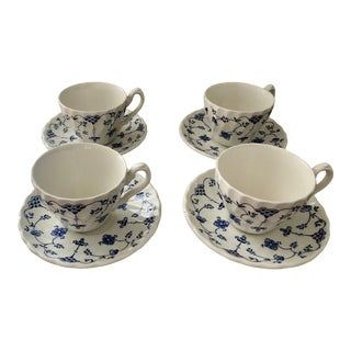 1980s Myott Finlandia Fine Blue and White Staffordshire Ware Cups and Saucers - Set of 4 For Sale