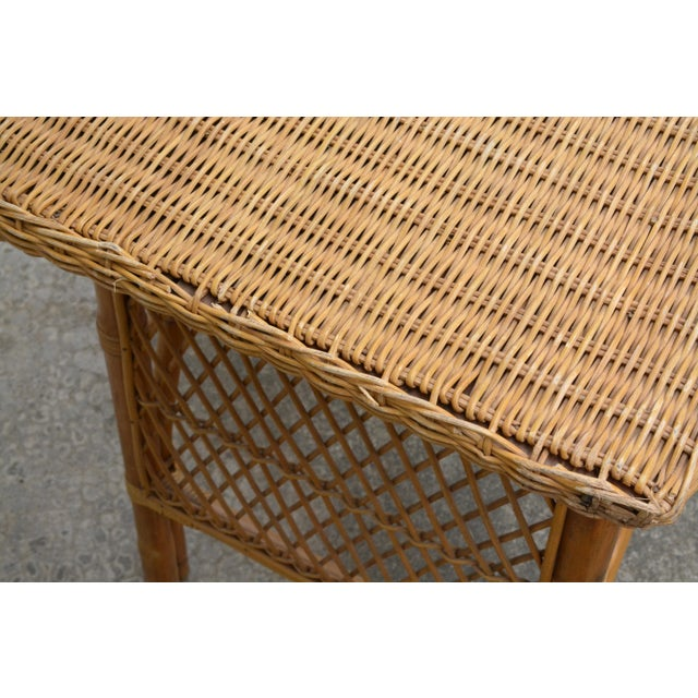 1950s Wicker Rattan Desk and Chair - a Set For Sale - Image 10 of 12