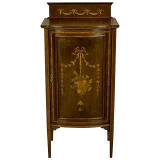 1890 Intarsiated Nightstand or Cabinet For Sale