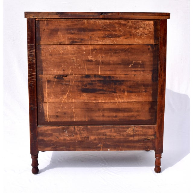 Early 19th Century Antique Sheraton Cherry and Stripe Maple Chest of Drawers, Dresser For Sale - Image 5 of 12