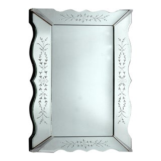 1940's Art Deco Etched & Scalloped Mirror For Sale
