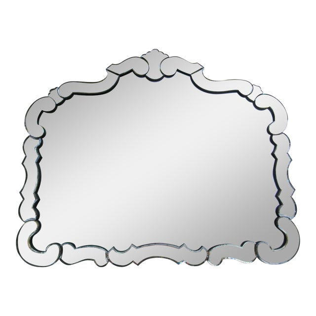 Large 1940's-50's Hollywood Regency Era, Venetian-Style Antique Acid Finished Wall Mirror For Sale