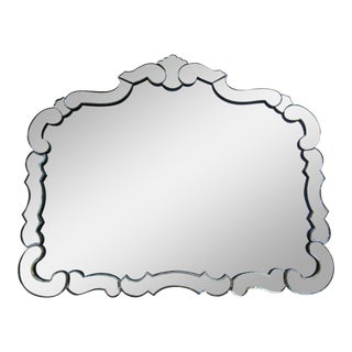 Large 1950s Hollywood Regency Era, Venetian-Style Antique Acid Finished Wall Mirror For Sale