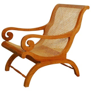 Anglo-Indian Teak and Cane Plantation Chair For Sale