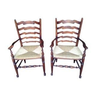 Ladder Back Armchairs - A Pair For Sale