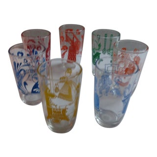 1930s Vintage 'American Life' Juice Glasses - Set of 7 For Sale