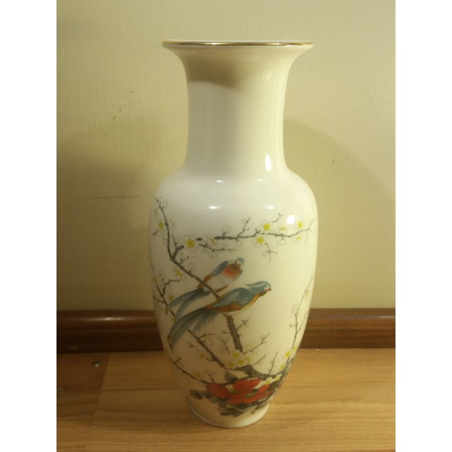 Jay fine china vase with bird and floral design. The vase has a gold rim. Made in Japan.