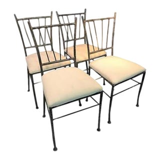 Exceptional Suite of Four Sculptural Iron Chairs in the Manner of Giacometti For Sale