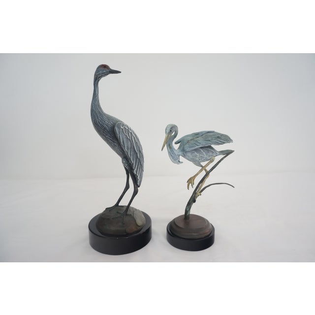 Bronze Crane and Heron Sculptures - A Pair - Image 2 of 7