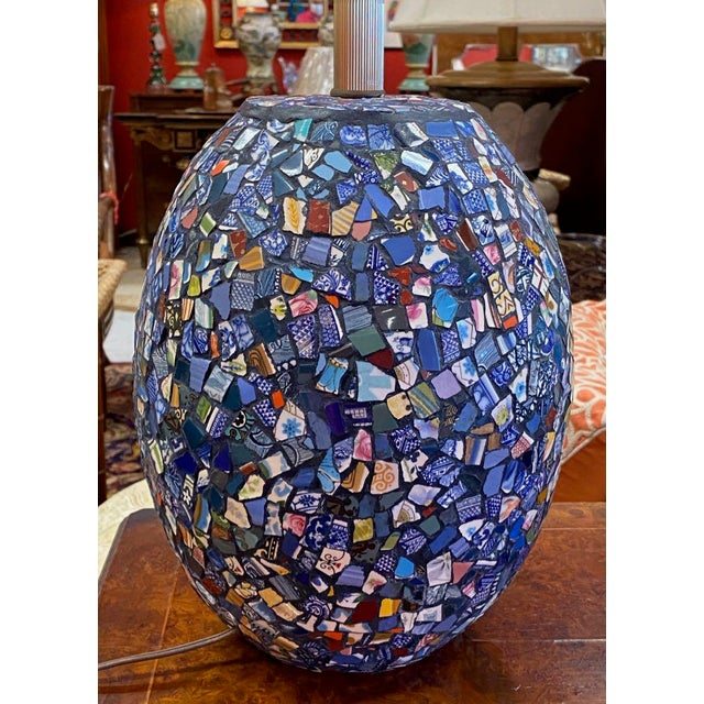 1990s Broken China Mosaic Lamps - a Pair For Sale - Image 4 of 13