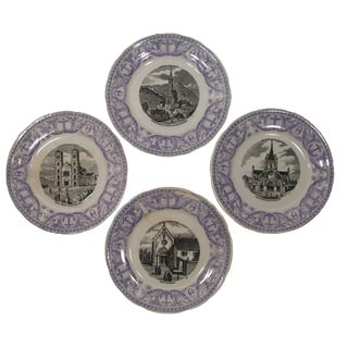 Antique French Transferware Pilgrimmage Plates - Set of 4 For Sale