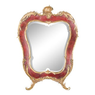 19th Century French Rococo Red Tortoise Shell and Gilt Bronze Footed Vanity Mirror For Sale