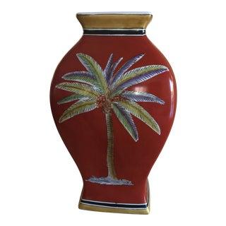 Traditional Raymond Waites Red Ceramic Palm Tree Vase