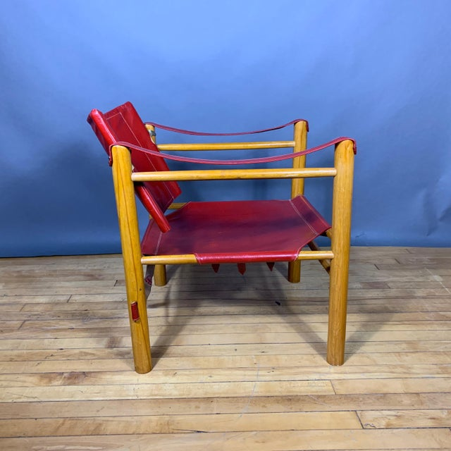 Mid-Century Modern Red Leather and Birch Safari Chair, 1980s For Sale - Image 3 of 9